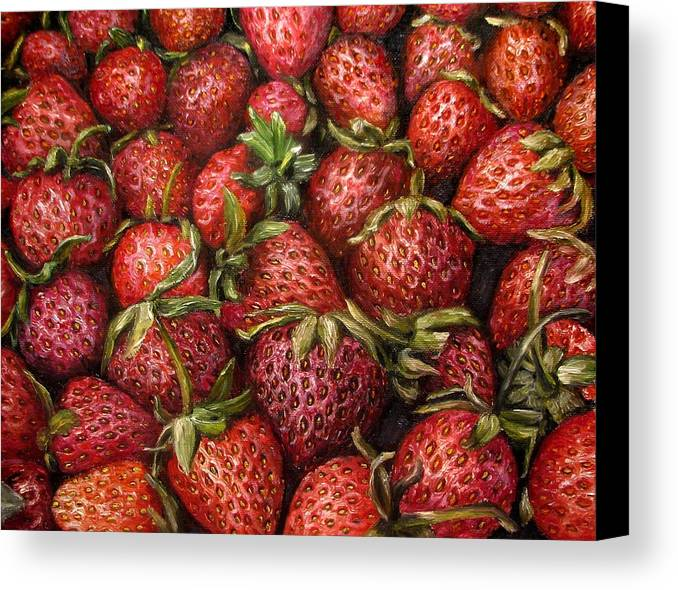 Strawberries Canvas Print featuring the painting Strawberries -2 Contemporary Oil Painting by Natalja Picugina