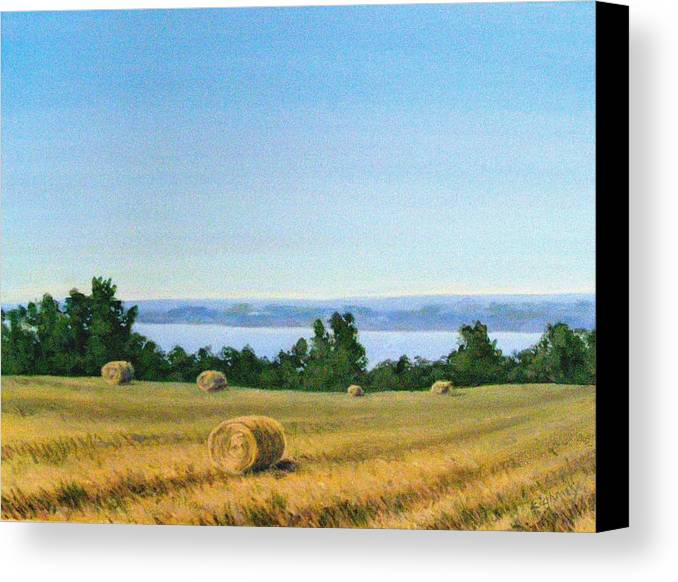Lanscape Canvas Print featuring the painting Summer At Cayuga Lake by Evelynn Eighmey