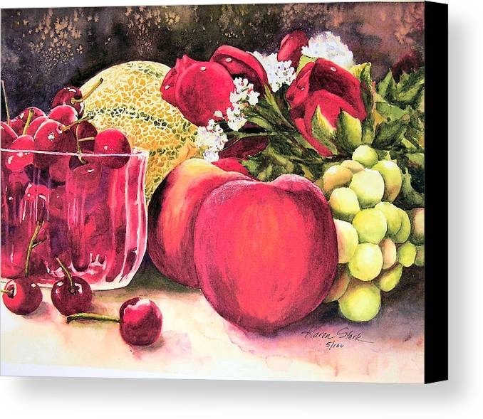 Cherries Canvas Print featuring the painting Summer Bounty by Karen Stark