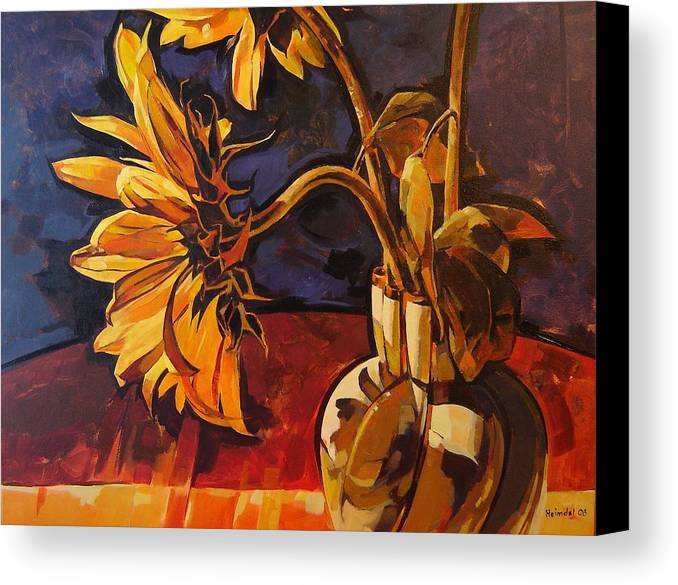 Canadian Canvas Print featuring the painting Sunflowers In Italian Vase Take Two by Tim Heimdal