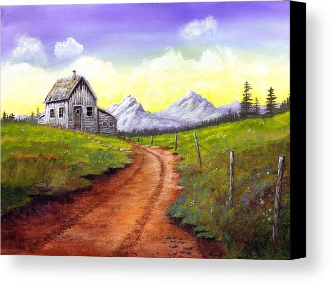Landscape Canvas Print featuring the painting Sunlit Cabin by SueEllen Cowan
