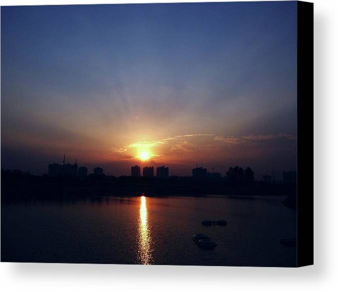 City Canvas Print featuring the photograph Sunrise Reflection by Atullya N Srivastava