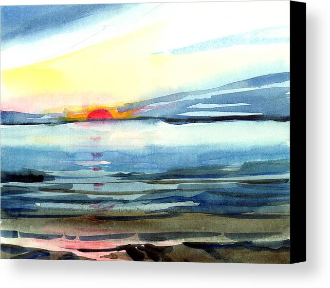 Landscape Seascape Ocean Water Watercolor Sunset Canvas Print featuring the painting Sunset by Anil Nene