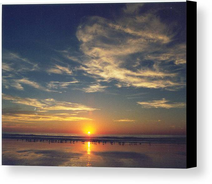 Sunset Canvas Print featuring the photograph Sunset At Moonlight Beach by PJ Cloud