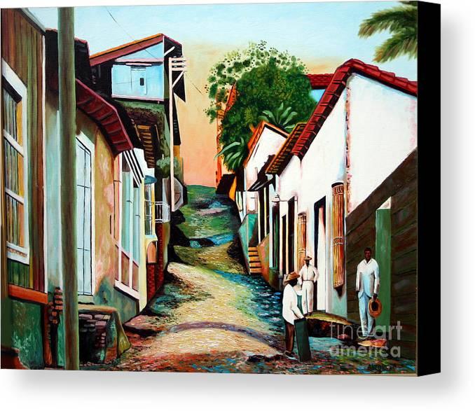 Cuban Art Canvas Print featuring the painting Sunset by Jose Manuel Abraham