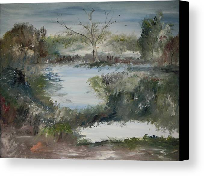 Landscape Canvas Print featuring the painting Sweet River by Edward Wolverton