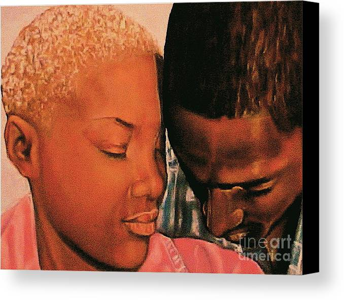 Talk To Me Baby Canvas Print featuring the pastel Talk To Me Baby II by Curtis James