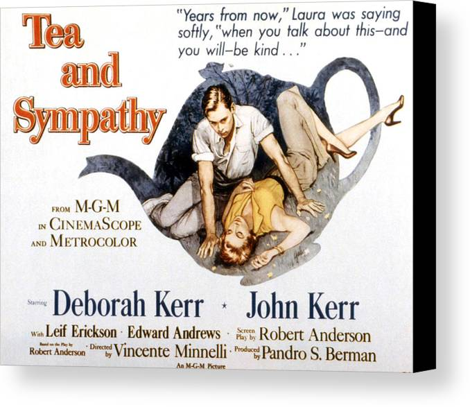 1950s Poster Art Canvas Print featuring the photograph Tea And Sympathy, John Kerr, Deborah by Everett
