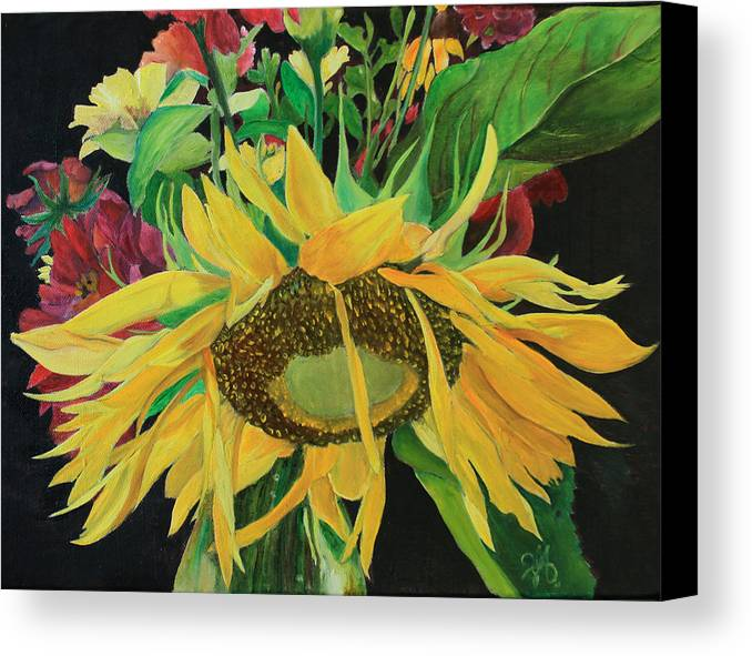 Sunflower Canvas Print featuring the painting Tender Mercies by Jane Autry