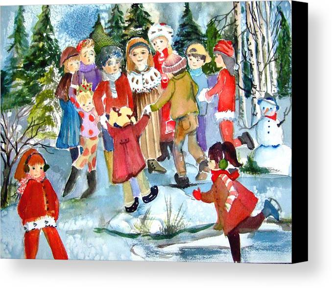 Christmas Canvas Print featuring the painting The Christmas Party by Mindy Newman