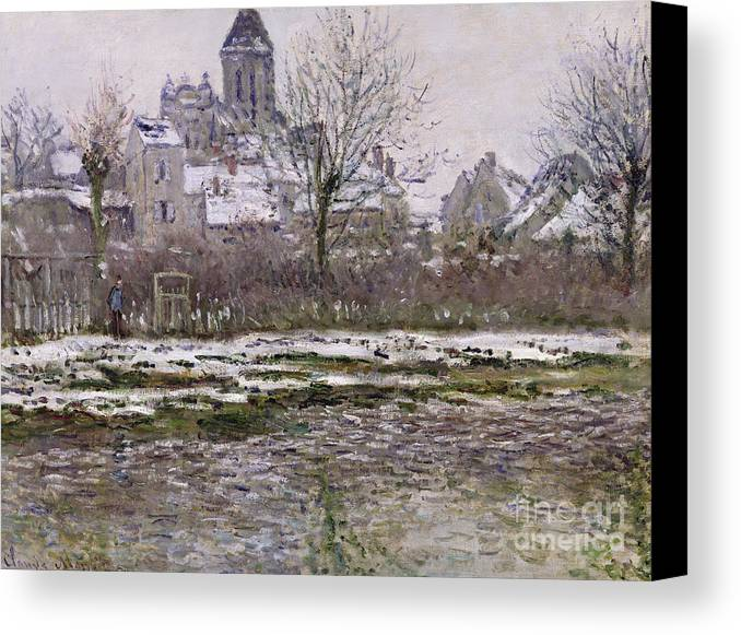 The Canvas Print featuring the painting The Church At Vetheuil Under Snow by Claude Monet