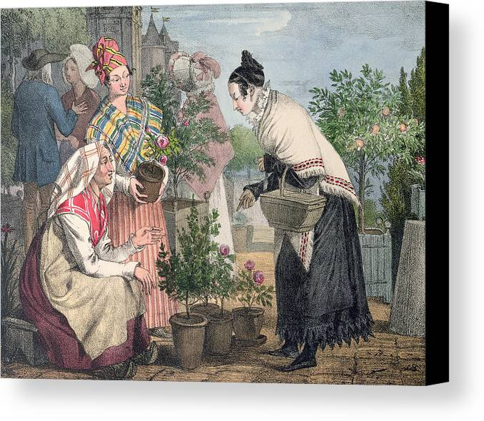 Flower Canvas Print featuring the painting The Flower Market by John James Chalon