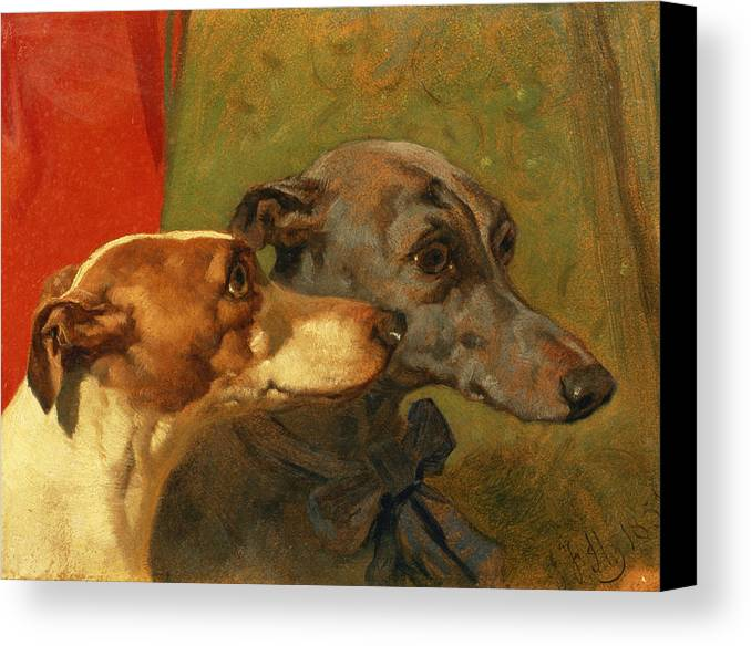 Greyhound; Dog; Ribbon; Bow; Dogs; Charlie; Pet; Racing; Levrier; Levriers Canvas Print featuring the painting The Greyhounds Charley And Jimmy In An Interior by John Frederick Herring Snr