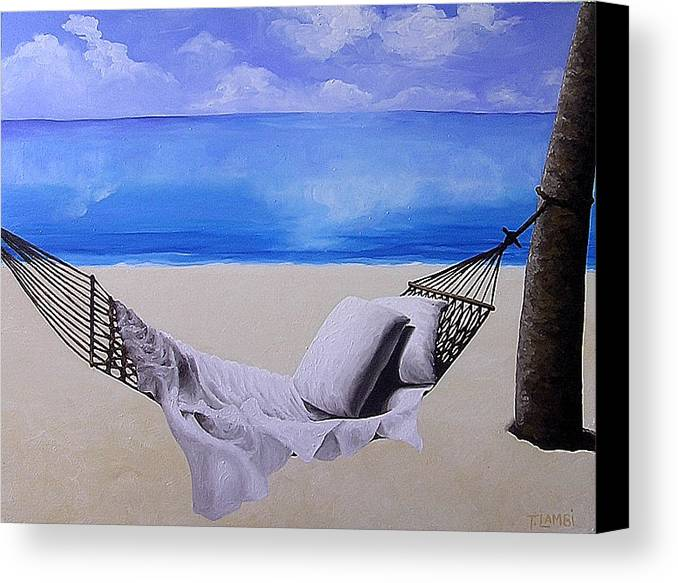 Seascape Canvas Print featuring the painting The Hammock by Trisha Lambi