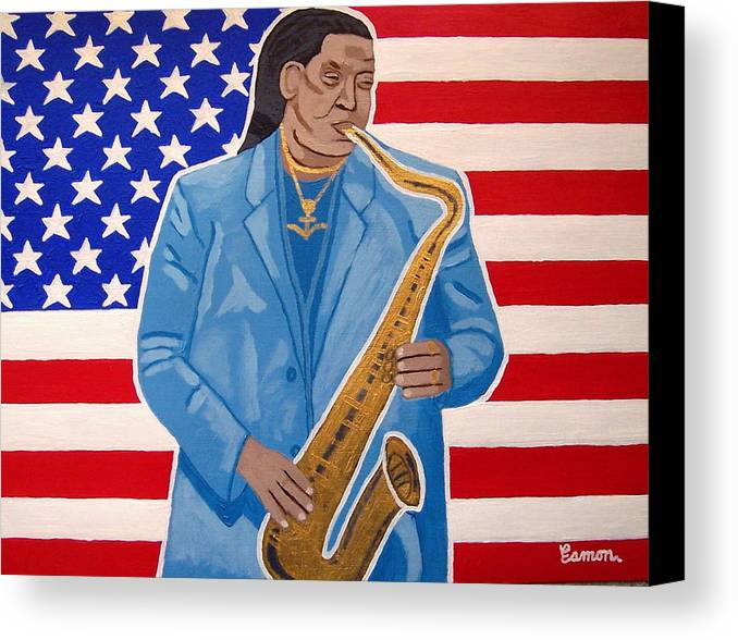 Clarence Clemons Canvas Print featuring the painting The Late Great Clarence Clemons by Eamon Reilly