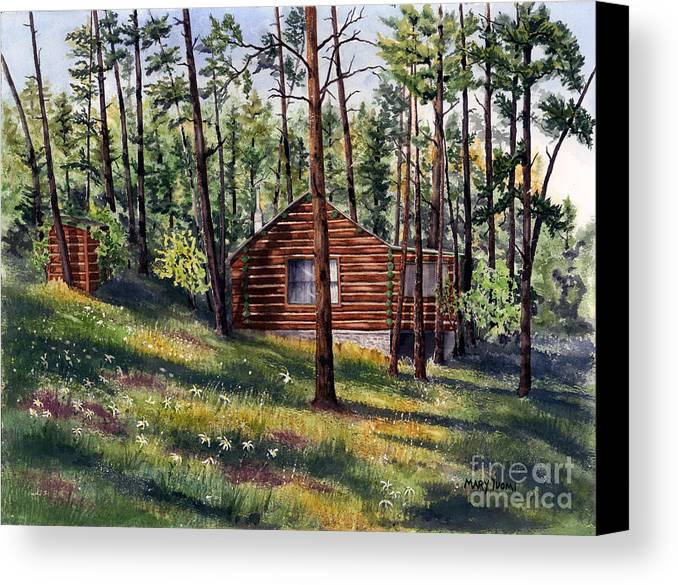 Nature Canvas Print featuring the painting The Log Cabin by Mary Tuomi