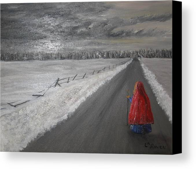 Landscape Canvas Print featuring the painting The Road That Must Be Traveled by L A Raven