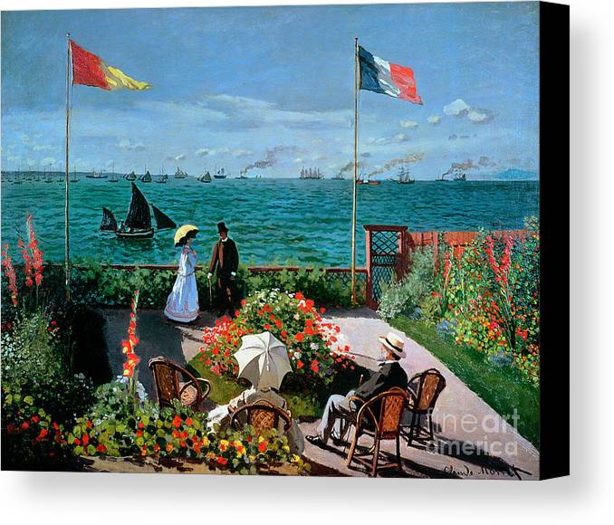 The Canvas Print featuring the painting The Terrace At Sainte Adresse by Claude Monet