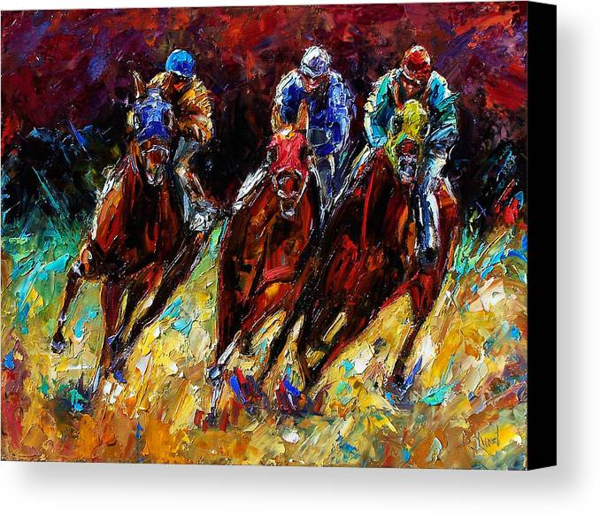 Horses Paintings Canvas Print featuring the painting The Turn by Debra Hurd