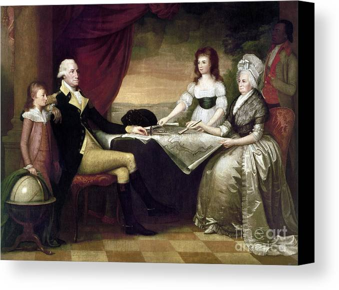 1796 Canvas Print featuring the photograph The Washington Family by Granger