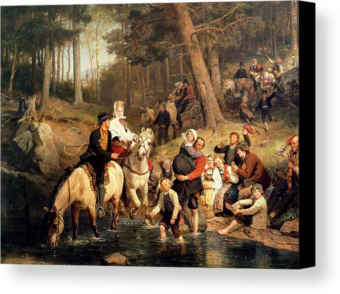 The Wedding Trek Canvas Print featuring the painting The Wedding Trek by Adolphe Tidemand