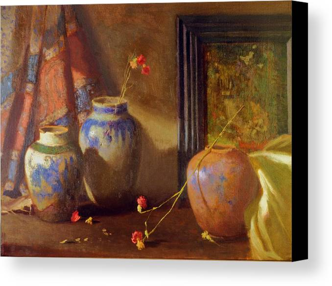 Still Life Impression Canvas Print featuring the painting Three Vases With Impressionist Painting In Background by David Olander