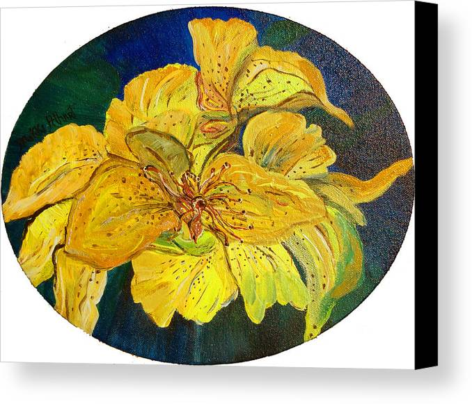 Tiger Lily Canvas Print featuring the painting Tiger Lily by Mikki Alhart