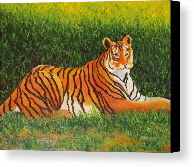 Tiger Canvas Print featuring the painting Tiger by Lore Rossi