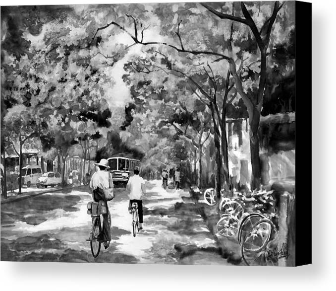 Xian Canvas Print featuring the painting Tradition Vs Modernism by Eileen Fong