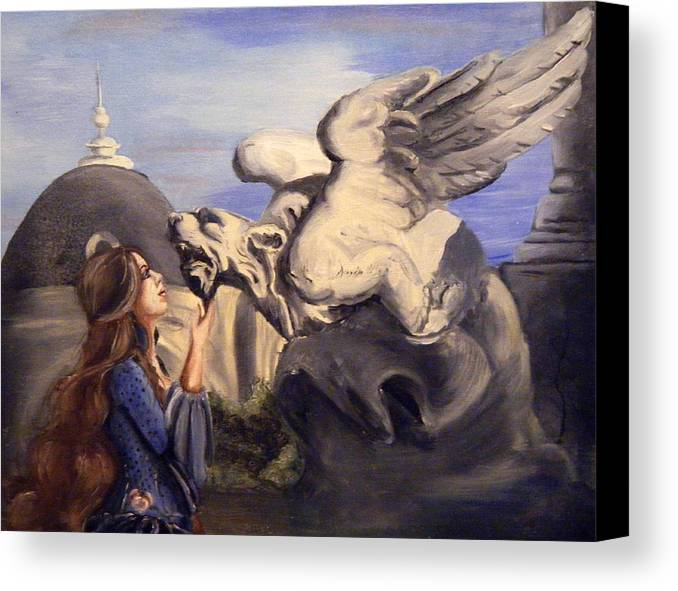Woman Canvas Print featuring the painting Trapped Souls by Scarlett Royal