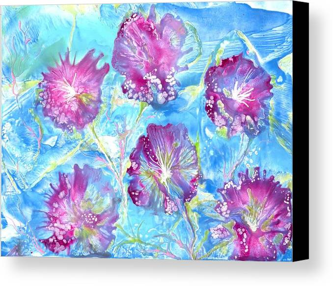 Encaustic Canvas Print featuring the painting Tribute With Flora by Heather Hennick