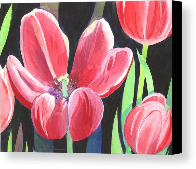Flower Canvas Print featuring the painting Tulips On Black by Helena Tiainen