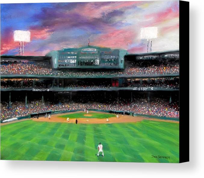Baseball Canvas Print featuring the painting Twilight At Fenway Park by Jack Skinner
