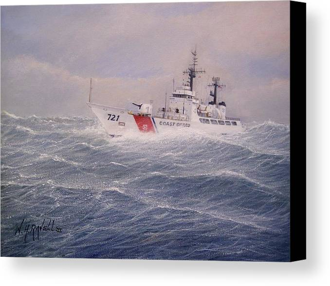 Ship Canvas Print featuring the painting U. S. Coast Guard Cutter Gallitin by William H RaVell III