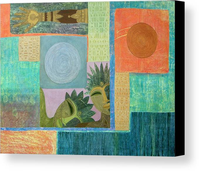 Ethnic African Abstract Sun Moon Texture Sgraffito Exotic Men And Woman Canvas Print featuring the painting Union Of The Sun And Moon by Jennifer Baird