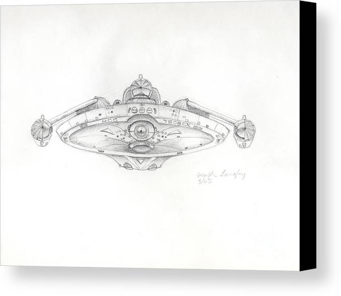 Star Trek Canvas Print featuring the drawing Uss Bering Sea Front View by Joseph A Langley