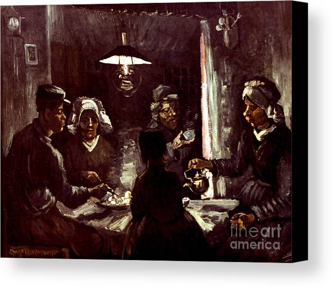 1885 Canvas Print featuring the photograph Van Gogh: Meal, 1885 by Granger