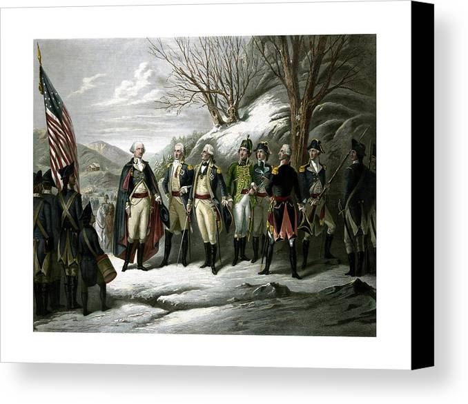 George Washington Canvas Print featuring the painting Washington And His Generals by War Is Hell Store