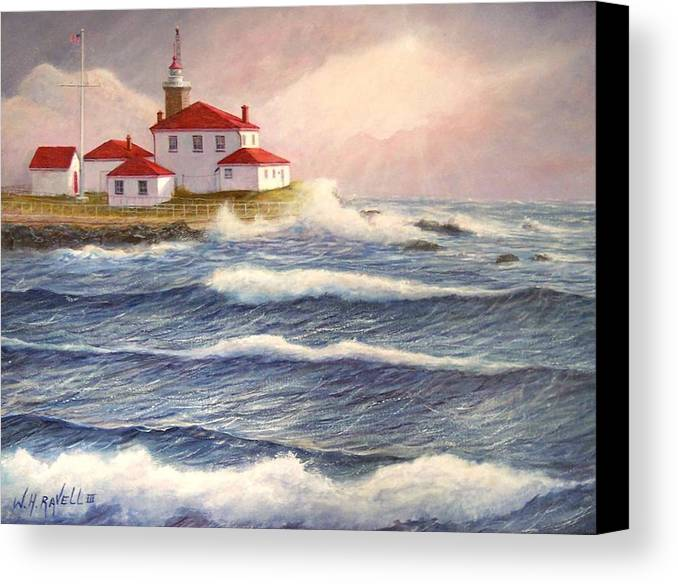 Seascape Canvas Print featuring the painting Watch Hill Lighthouse In Breaking Sun by William H RaVell III