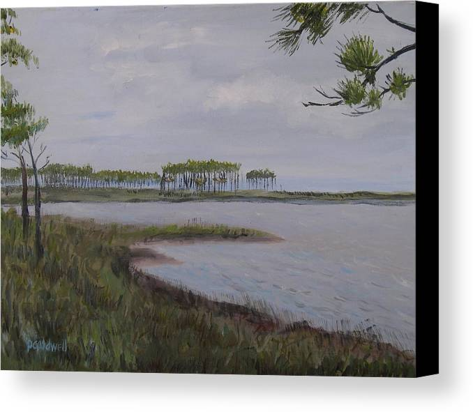 Landscape Beach Coast Tree Water Canvas Print featuring the painting Water Color by Patricia Caldwell