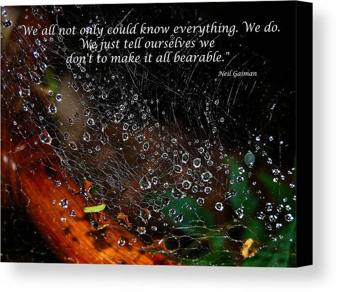 Quotes Canvas Print featuring the photograph We All Not Only Could Know Everything... by Heather S Huston