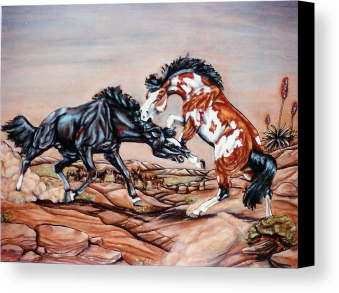 Leather Canvas Print featuring the painting Who The Boss by Lilly King
