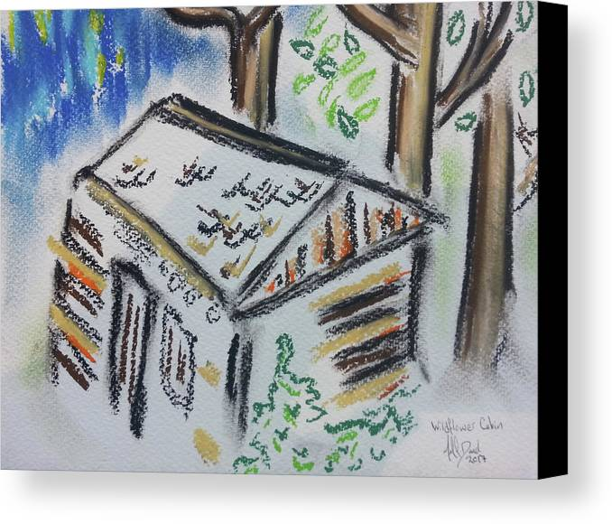 #cabin #tree #wood # Sky #sketch #outdoors #less #blanks #nature #frontier Canvas Print featuring the drawing Wildflower Cabin by Michael David