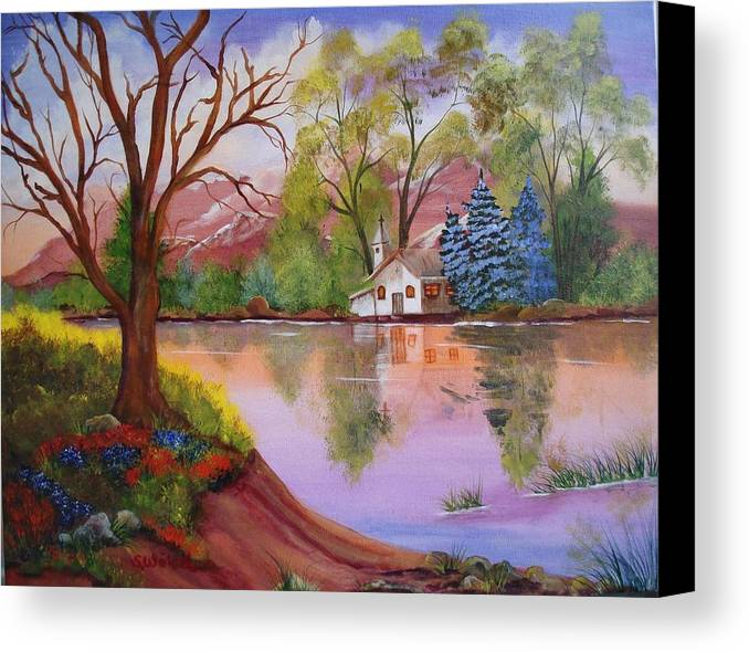 Landscape Reflection Building Church Lake Canvas Print featuring the painting Wildwood Church by Sherry Winkler