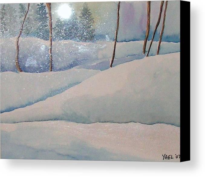 Winter Canvas Print featuring the painting Winter Dreams by Yael Eylat-Tanaka