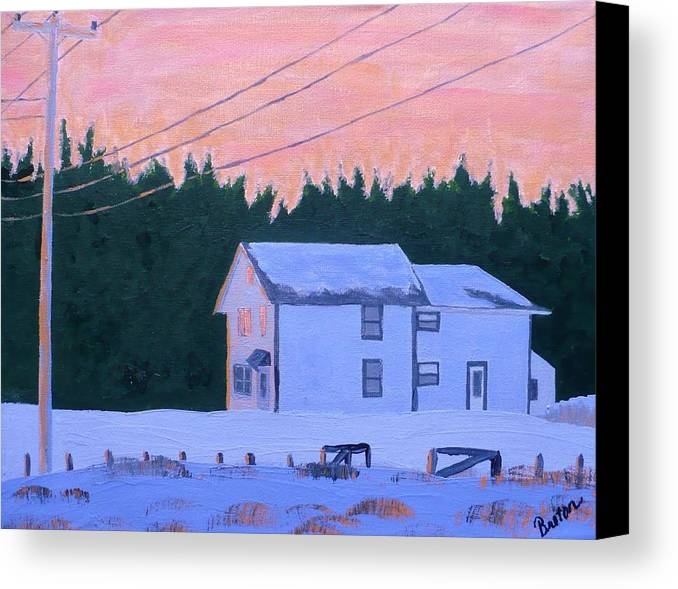 Maine Canvas Print featuring the painting Winter Dusk by Laurie Breton
