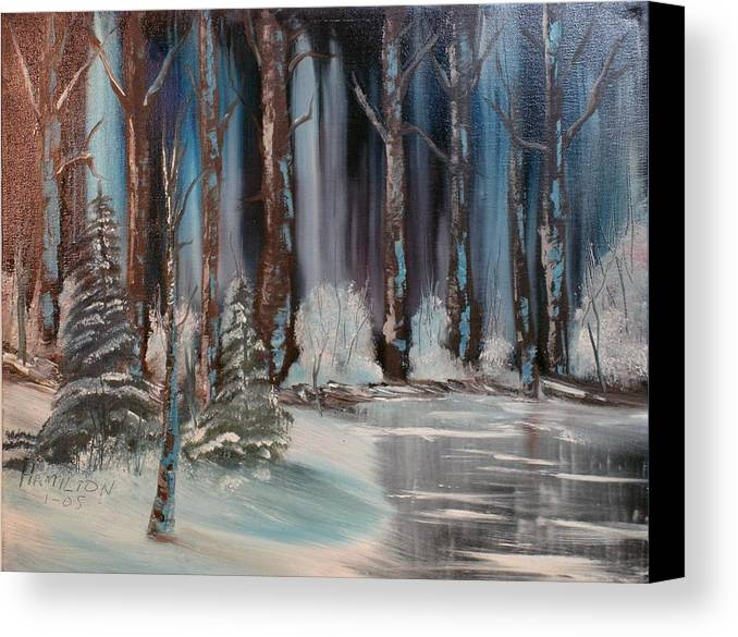 Oil Painting Canvas Print featuring the painting Winter Forest by Larry Hamilton