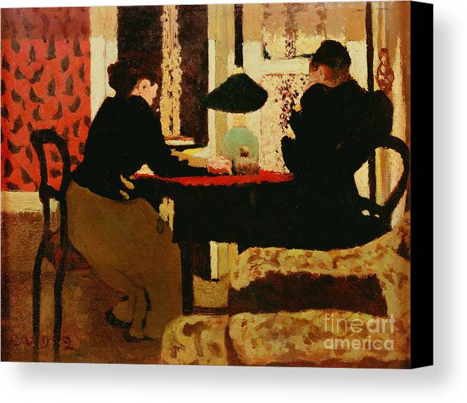 Women Canvas Print featuring the painting Women By Lamplight by vVuillard