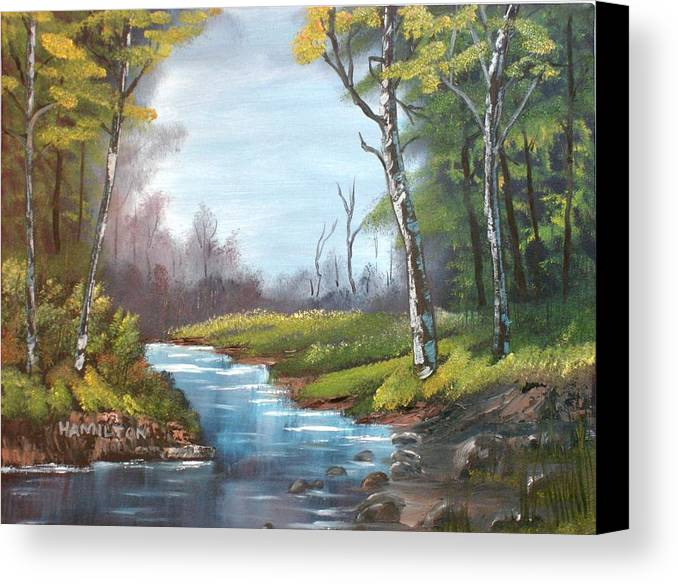 Oil Canvas Print featuring the painting Wooded Stream by Larry Hamilton