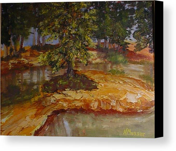 Landscape Canvas Print featuring the painting Wylie's Island by Helen Musser
